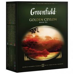 Чай GREENFIELD (Гринфилд) Golden Ceylon, черный, 100 пакетиков в конвертах по 2 г, 0581
