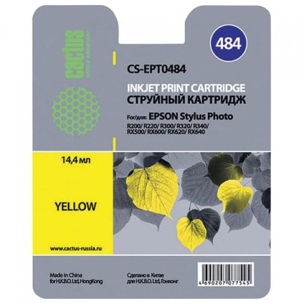 Картридж струйный CACTUS (CS-EPT0484) для EPSON Stylus Photo R200/R300/RX500, желтый