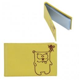 Визитница карманная FABULA Friends на 40 визитных карт, натуральная кожа, тиснение, лимон, V.38.CH