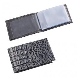 Визитница карманная BEFLER Кайман, на 40 визитных карт, натуральная кожа, крокодил, серая, V.30.-13