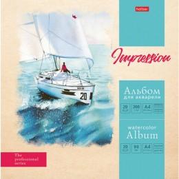 Альбом для акварели А4 20 л., 200 г/м2 склейка, матовая ламинация, HATBER,