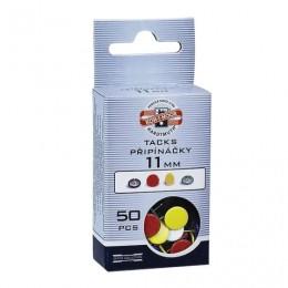 Кнопки канцелярские KOH-I-NOOR, металлические, цветные, 11 мм, 50 шт., в картонной коробке с подвесом, 9600100301KS
