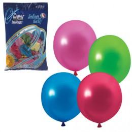 Шары воздушные 10 (25 см), комплект 100 шт., 12 цветов металлик, в пакете, 1101-0001