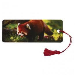 Закладка для книг с линейкой, 3D-объемная, BRAUBERG Красная панда, с декоративным шнурком, 128103