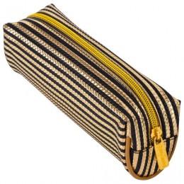 Пенал-косметичка BRAUBERG, мягкий, Royal, золотой, 19х6х6 см, 229021
