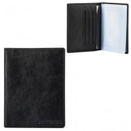 Бумажник водителя FABULA Estet, натуральная кожа, тиснение, 6 пластиковых карманов, черный, BV.36.MN