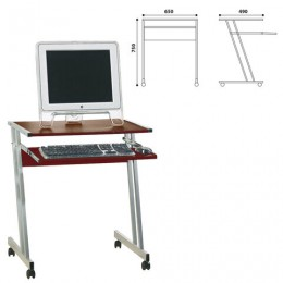 Стол компьютерный на металлокаркасе, 650х490х750 мм, ЛДСП, цвет орех, Д-249