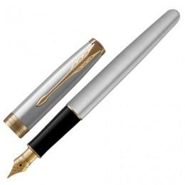 Ручка перьевая PARKER Sonnet Core Stainless Steel GT, корпус серебристый, позолоченные детали, черная, 1931504