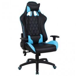 Кресло компьютерное BRABIX GT Master GM-110, две подушки, экокожа, черное/голубое, 531928