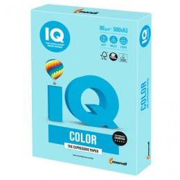 Бумага IQ color БОЛЬШОЙ ФОРМАТ (297х420 мм), А3, 80 г/м2, 500 л., пастель, голубая, MB30