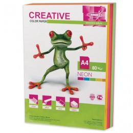 Бумага CREATIVE color (Креатив) А4, 80 г/м2, 250 л., (5 цв.х50 л.) цветная неон, БНpr-250r