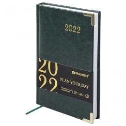 Ежедневник датированный 2022 А5 (138х213мм) BRAUBERG Senator зеленый, 112783