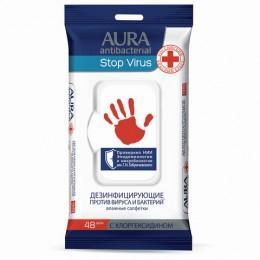 Дезинфицирующие салфетки влажные 48 шт., AURA