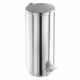 Ведро для мусора с педалью, УСИЛЕННОЕ, ТИТАН, 30 литров, кольцо под мешок, нержавеющая сталь, хром