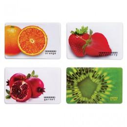 Обложка-карман для карт, пропусков Фрукты, 95х65 мм, ПВХ, полноцветный рисунок, дизайн ассорти, ДПС, 2802.ЯК.Ф