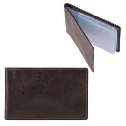Визитница карманная FABULA Estet на 40 визитных карт, натуральная кожа, темно-коричневая, V.1.MN
