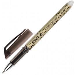 Ручка стираемая гелевая STAFF, ЧЕРНАЯ, хромированные детали, узел 0,5 мм, линия письма 0,35 мм, 142495