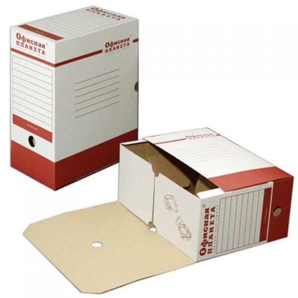 Короб архивный с клапаном А4 (260х325 мм), 150 мм, до 1400 листов, микрогофрокартон, БЕЛЫЙ, ОФИСНАЯ ПЛАНЕТА, 122746