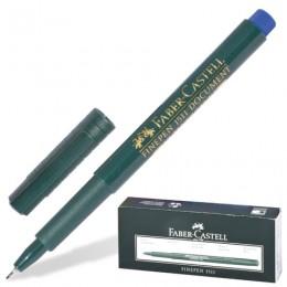 Ручка капиллярная FABER-CASTELL Finepen 1511, СИНЯЯ, корпус темно-зеленый, линия письма 0,4 мм, 151151