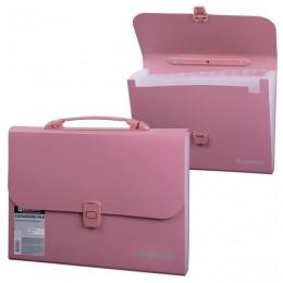 Портфель пластиковый BRAUBERG, А4, 327х254х30 мм, стандартная фактура, 13 отделений, пластиковый индекс, розовый, 221441
