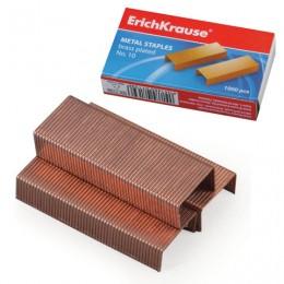 Скобы для степлера ERICH KRAUSE № 10, 1000 штук, в картонной коробке, медное покрытие, до 20 листов, 7139