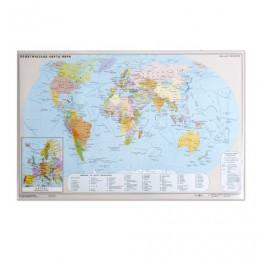Коврик-подкладка настольный для письма (590х380 мм), с картой мира, ДПС, 2129.М
