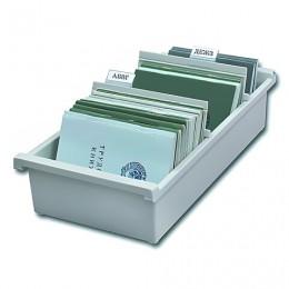 Картотека пластиковая HAN (Германия), А6, открытая, горизонтальная, на 1300 карточек, 148х105 мм, серая, НА956/0/11