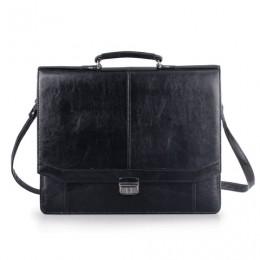 Портфель Бизнес, 41х34х10 см, искусственная кожа, 3 отделения, замок с ключом, черный, 309