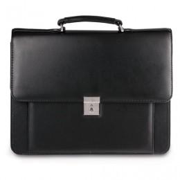 Портфель Проект, 38х28,5х10 см, искусственная кожа, 2 отделения, замок с ключом, черный, 200