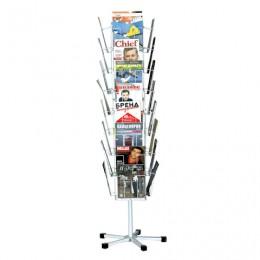 Стойка напольная для рекламных материалов (185х54х54 см), на 32 лотка, сетчатая, вращающаяся, белая, А-29-ТМ