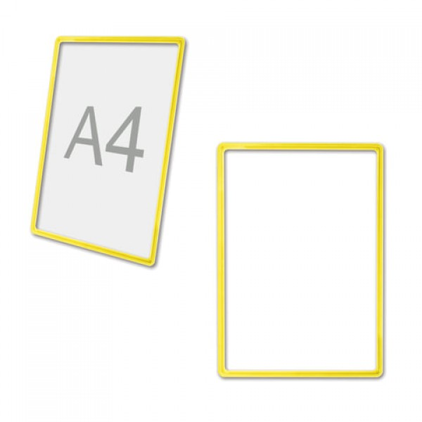 Рамка POS для ценников, рекламы и объявлений А4, желтая, без защитного экрана, 290251
