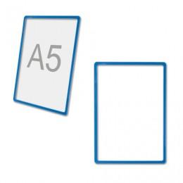 Рамка POS для рекламы и объявлений МАЛОГО ФОРМАТА (210х148,5 мм), А5, СИНЯЯ, без защитного экрана, 290258