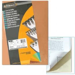 Обложки картонные для переплета А4, КОМПЛЕКТ 100 шт., тиснение под кожу, 250 г/м2, слоновая кость, FELLOWES, FS-53700