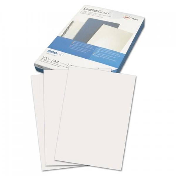 Обложки картонные для переплета А4, КОМПЛЕКТ 100 шт., тиснение под кожу, 250 г/м2, белые, GBC, 040070/4401979