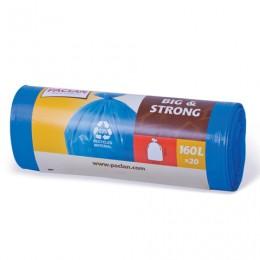 Мешки для мусора 160 л, синие, в рулоне 20 шт., ПВД, 20 мкм, 120х87 см, PACLAN