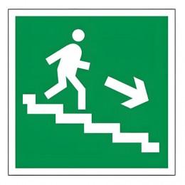 Знак эвакуационный Направление к эвакуационному выходу по лестнице НАПРАВО вниз, квадрат 200х200 мм, самоклейка, 610018/Е 13
