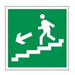 Знак эвакуационный Направление к эвакуационному выходу по лестнице НАЛЕВО вниз, квадрат 200х200 мм, самоклейка, 610019/Е 14
