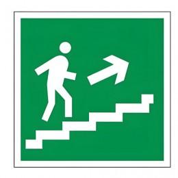 Знак эвакуационный Направление к эвакуационному выходу по лестнице НАПРАВО вверх, квадрат 200х200 мм, самоклейка, 610020/Е 15