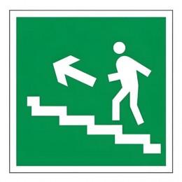 Знак эвакуационный Направление к эвакуационному выходу по лестнице НАЛЕВО вверх, квадрат, 200х200 мм, самоклейка, 610021/Е 16