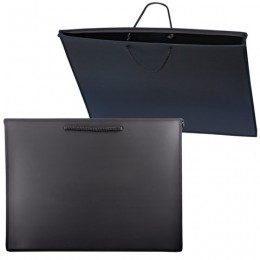 Папка для рисунков и чертежей, А3, 460х343 мм, с ручками, пластиковая, черная, ПМ-А3-35