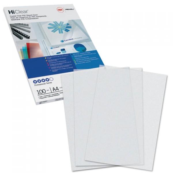 Обложки пластиковые для переплета А4, КОМПЛЕКТ 100 шт., 200 мкм, прозрачные, GBC, CE012080E