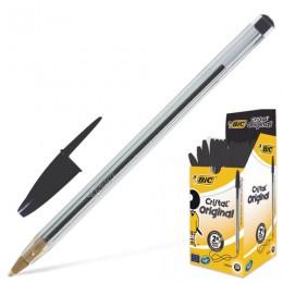 Ручка шариковая BIC Cristal, ЧЕРНАЯ, корпус прозрачный, узел 1 мм, линия письма 0,32 мм, 847897