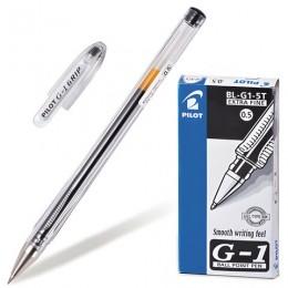 Ручка гелевая PILOT G-1, ЧЕРНАЯ, корпус прозрачный, узел 0,5 мм, линия письма 0,3 мм, BL-G1-5T