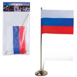 Флаг РФ, 12х18 см, подставка с флагштоком 30 см, под золото, пластик, упаковка с европодвесом, 550023