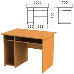 Стол компьютерный Фея, 1000х700х750 мм, с тумбой, цвет орех милан, СФ05.5
