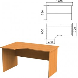 Стол письменный эргономичный Фея, 1400х900х750 мм, левый, цвет орех милан, СФ07.5