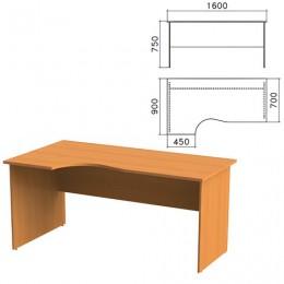 Стол письменный эргономичный Фея, 1600х900х750 мм, левый, цвет орех милан, СФ09.5