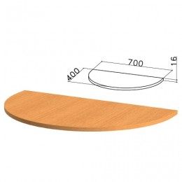 Стол приставной полукруг Фея, 700х400х750 мм, БЕЗ ОПОРЫ, орех милан,ПФ10.5