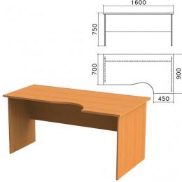 Стол письменный эргономичный Фея, 1600х900х750 мм, правый, цвет орех милан, СФ14.5
