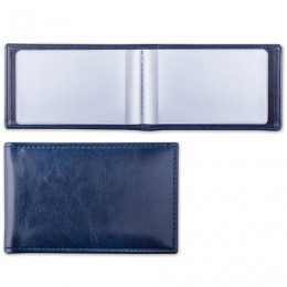 Визитница однорядная BRAUBERG Imperial, на 20 визиток, под гладкую кожу, темно-синяя, 232060